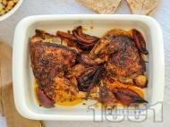 Рецепта Печени мариновани пилешки бутчета с марината от лимонов сок, кимион, куркума и канела на фурна